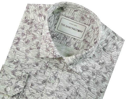 Men's 100% Cotton Printed Shirt - White (0420) - Theshirtfactory