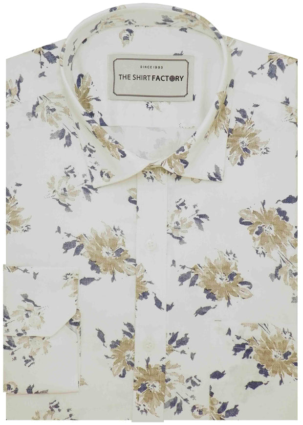 Men's 100% Cotton Printed Shirt - White (0570) - Theshirtfactory