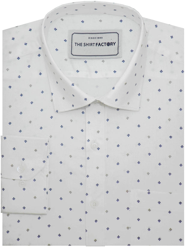 Men's 100% Cotton Printed Shirt - White (0830) - Theshirtfactory