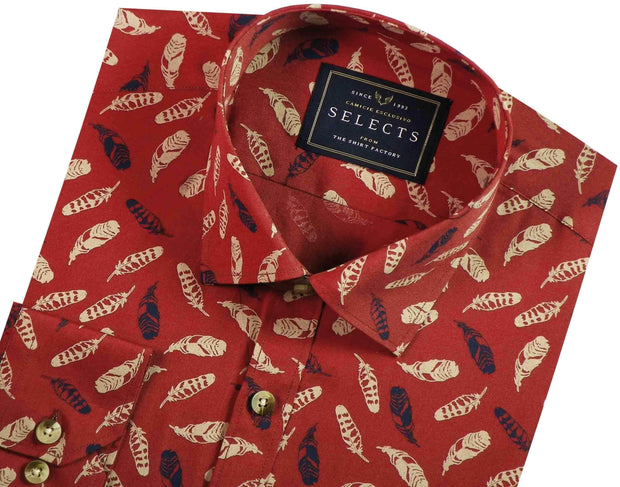 Selects Premium Cotton Printed Shirt - Brown (0496) - Theshirtfactory