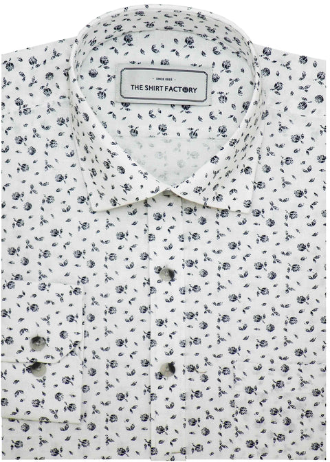 Men's Cotton Printed Shirt Linen Finish Shirt - White (0580) - Theshirtfactory