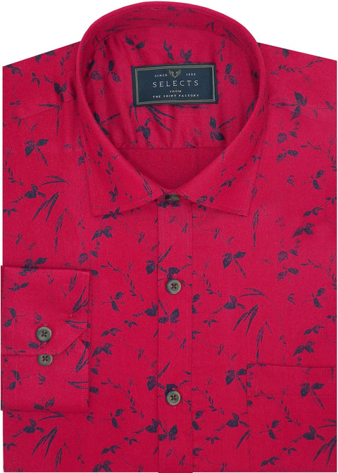Selects Cotton Dobby Printed Shirt Red (0963) - TheshirtfactoryPrinted Casual