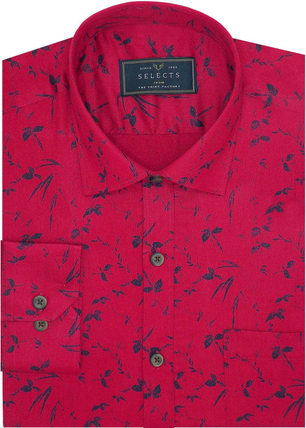 Selects Cotton Dobby Printed Shirt for Men Red (0963)