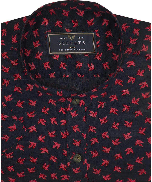 Selects Cotton Printed Shirt Linen Finish with Mandarin Collar - Black (0566-MAN) - Theshirtfactory