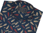 Selects Cotton Printed Shirt with Mandarin Collar - Peacock (0497-MAN) - Theshirtfactory