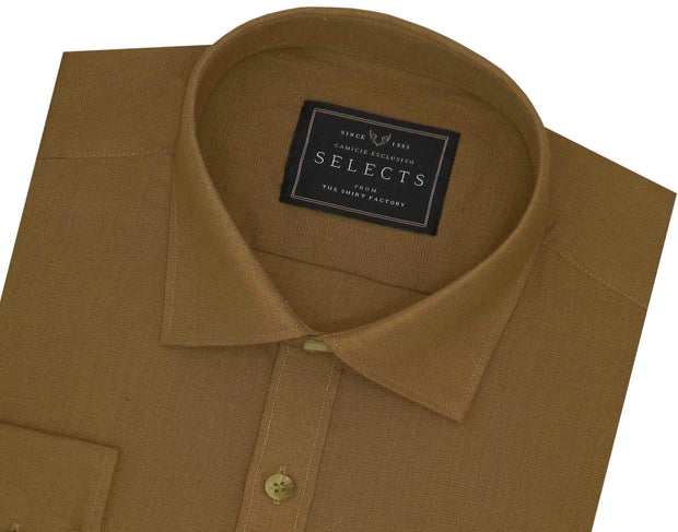 Selects Linen Cotton Blended Plain Shirt - Walnut Brown (0873) - Theshirtfactory