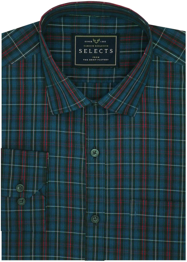 Selects Premium Cotton Check Shirt - Dark Blue (0716) - Theshirtfactory