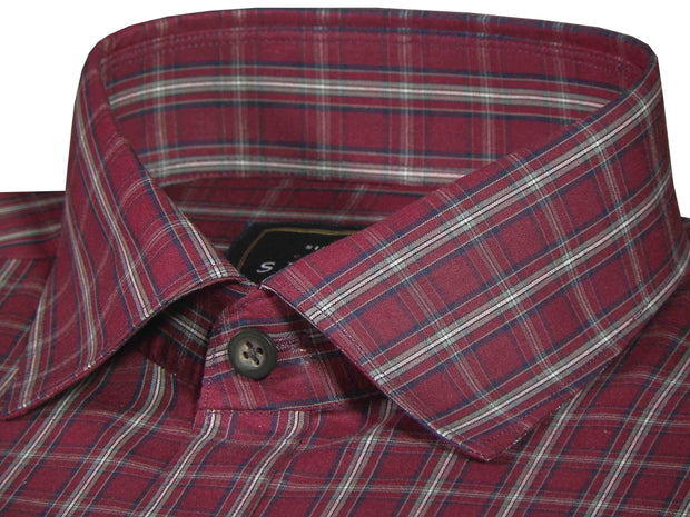 Selects Premium Cotton Check Shirt - Red (0634) - Theshirtfactory