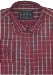 Selects Premium Cotton Check Shirt - Red (0634)