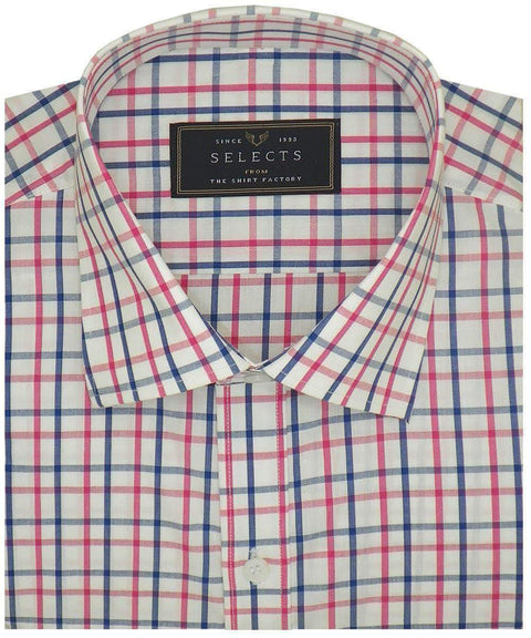 Selects Premium Cotton Check Shirt - Red Check (0961) - Theshirtfactory
