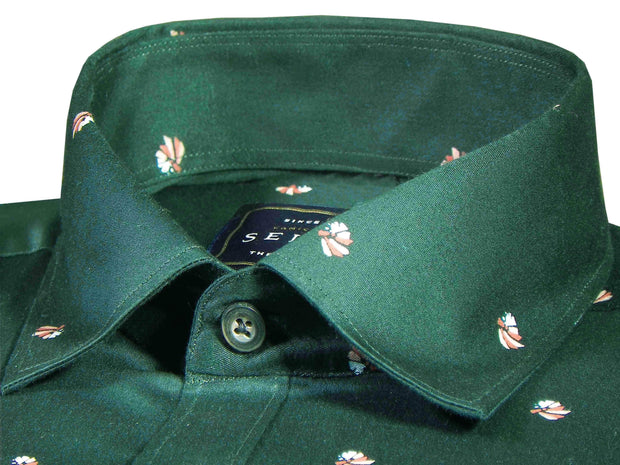 Theshirtfactory Selects Premium Cotton Satin Printed Shirt for Men Deep Green - (0944)