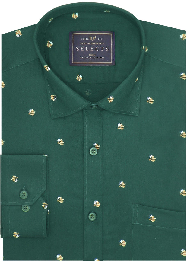Selects Premium Cotton Satin Printed Shirt for Men Deep Green - (0944) - Theshirtfactory