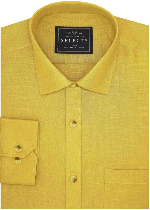 Selects Pure Linen Plain Shirt - Yellow (0543) - Theshirtfactory