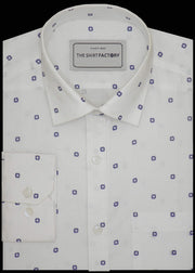 Men's 100% Cotton Dobby Printed Shirt - White (0336) - Theshirtfactory