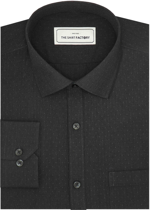 Men's 100% Cotton Dobby Shirt (Best for Suits) - Black (0601) - Theshirtfactory