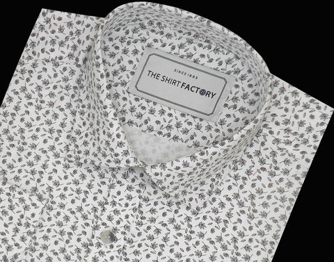 Men's Premium Cotton Printed Shirt - White (0590) - Theshirtfactory