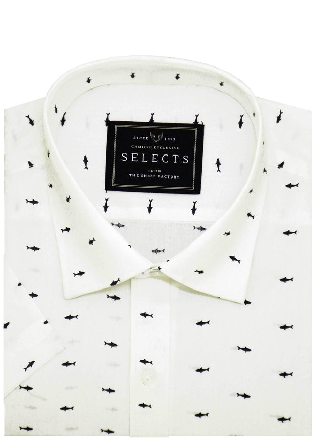 Selects Premium Cotton Printed Shirt - White (0352) - Theshirtfactory