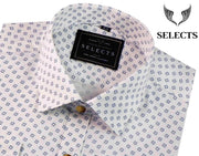 Selects Premium Cotton Satin Printed Shirt - White (0414) - Theshirtfactory