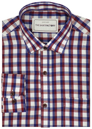 Men's Cotton Blend Shirt - Red Check (0286) - Theshirtfactory
