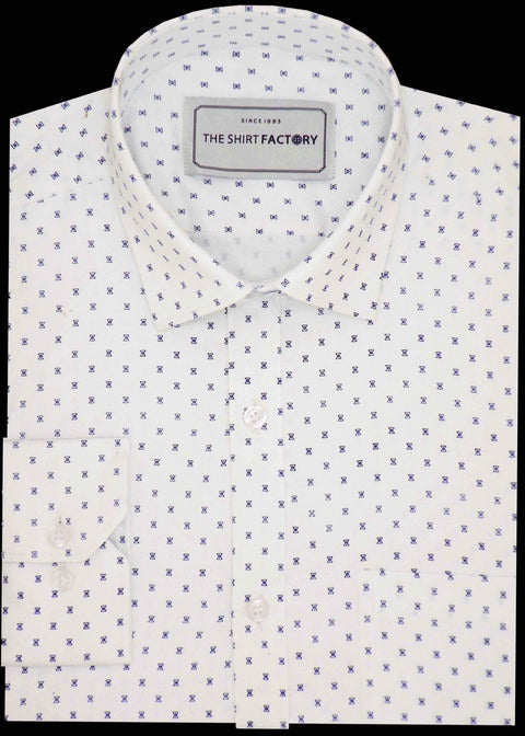Men's Premium Cotton Dobby Printed Shirt - White (0576) - Theshirtfactory