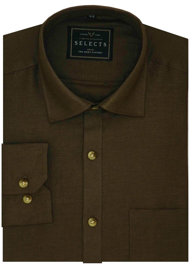 Selects Linen Cotton Blended Plain Shirt - Brown (0492) - Theshirtfactory