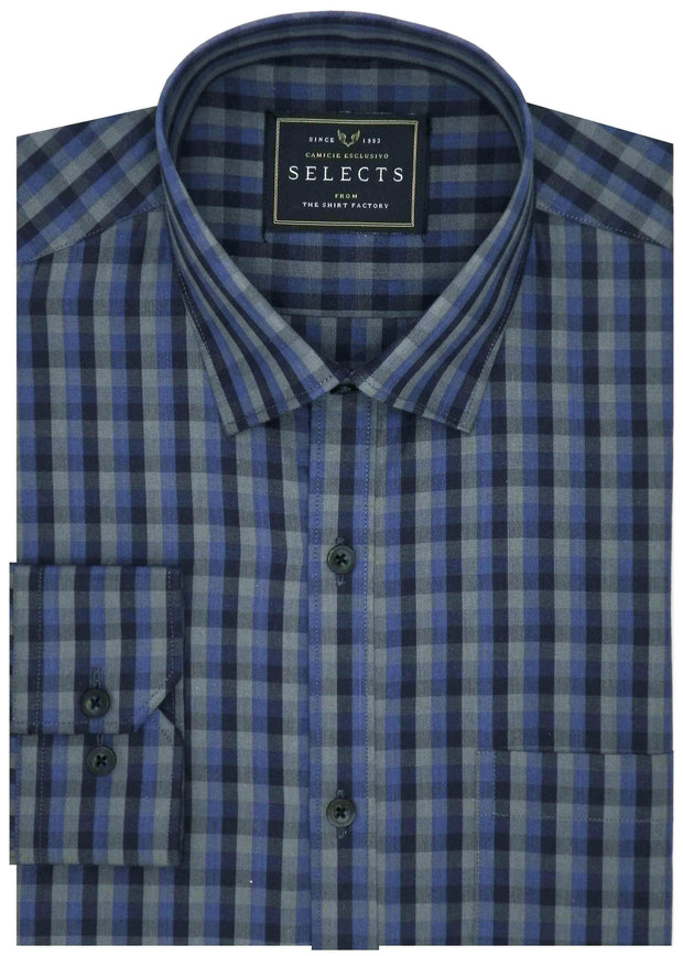 Selects Premium Cotton Check Shirt - Blue (0460) - Theshirtfactory