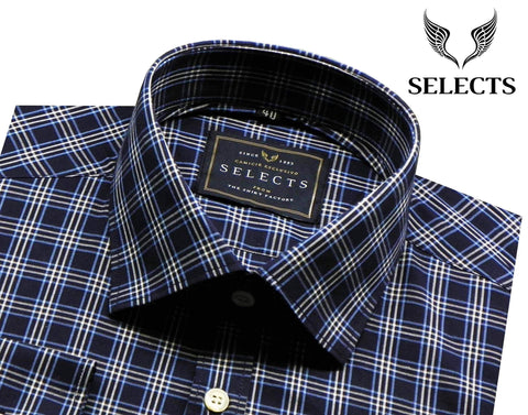 Selects Premium Cotton Check Shirt - Navy Check (0251) - Theshirtfactory