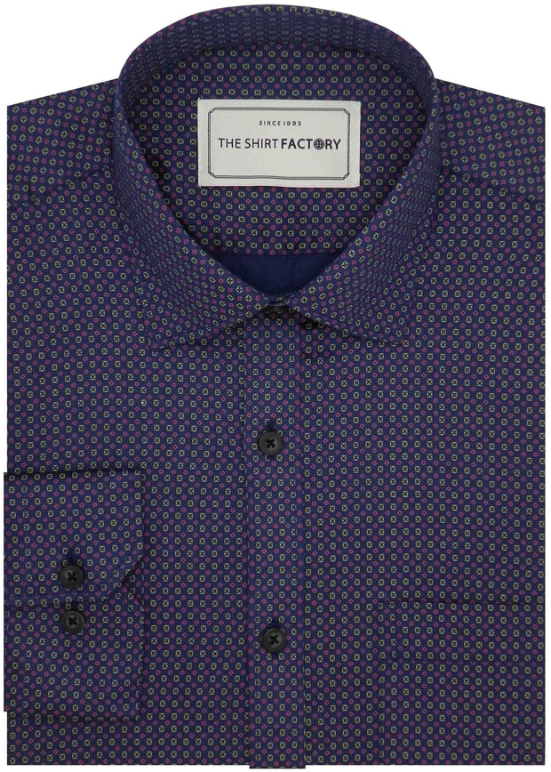 Men's 100% Cotton Printed Shirt - Blue (0561) - Theshirtfactory