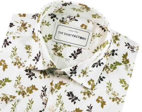 Men's Premium Cotton Satin Printed Shirt - White (0407) - Theshirtfactory