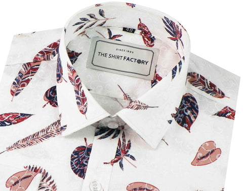 Men's 100% Cotton Satin Printed Shirt - White (0422) - Theshirtfactory