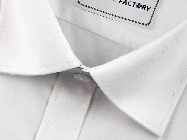 Men's Formal Cotton Blend Plain Shirt - Solid White (0018) - Theshirtfactory