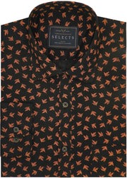 Selects Cotton Printed Shirt Linen Finish - Orange Print (0565) - TheshirtfactoryShirt THE SHIRT FACTORY