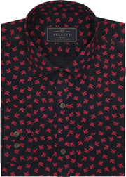 Selects Cotton Printed Shirt Linen Finish - Red Print (0566) - Theshirtfactory