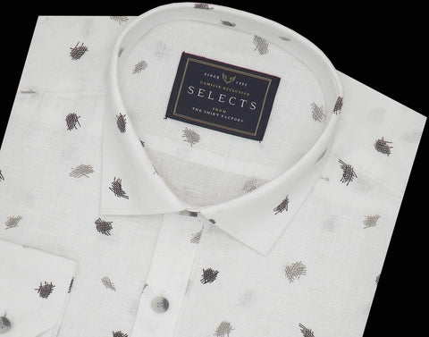 Selects Linen Cotton Blended Printed Shirt - White (0548) - Theshirtfactory