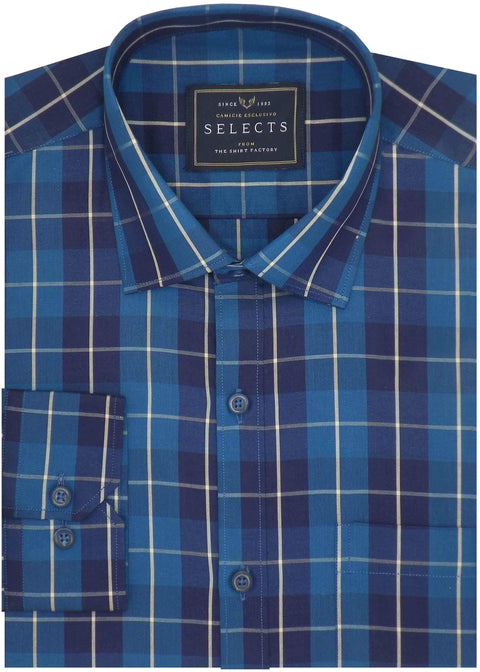 Selects Premium Cotton Check Shirt - Blue (0371) - Theshirtfactory