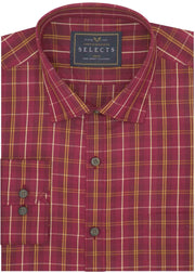 Selects Premium Cotton Check Shirt - Brown (0455) - Theshirtfactory