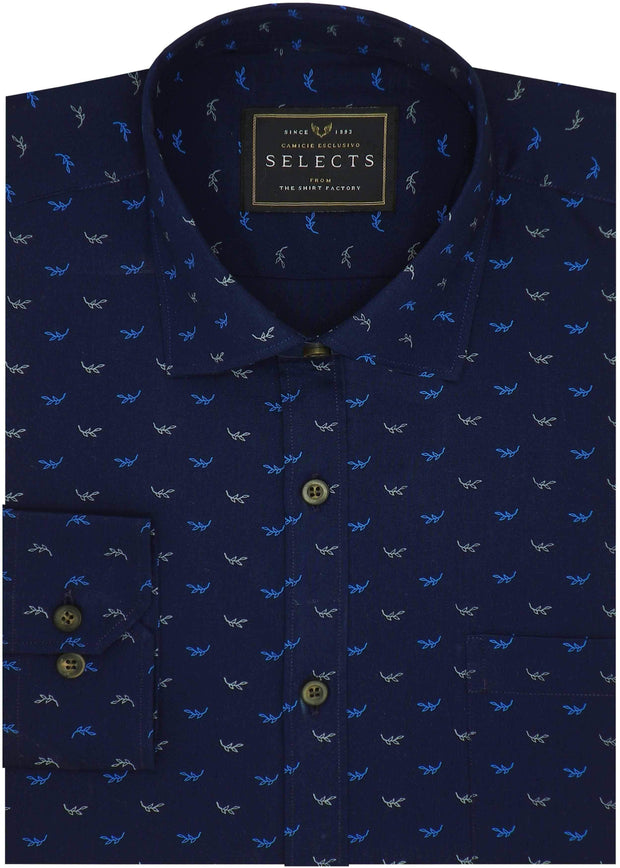 Selects Premium Cotton Printed Shirt - Navy (0350) - Theshirtfactory