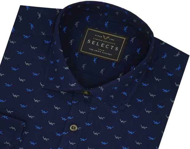 Selects Premium Cotton Printed Shirt - Navy (0350)