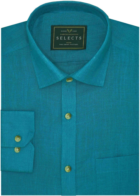 Selects Pure Linen Plain Shirt - Blue (0289) - Theshirtfactory