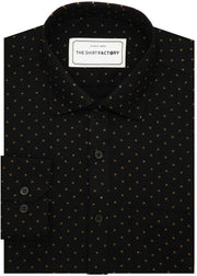 Men's 100% Cotton Dobby Printed Shirt - Black (0239) - Theshirtfactory