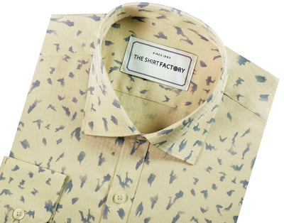 Men's 100% Cotton Dobby Printed Shirt - Cream (0344) - Theshirtfactory