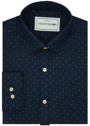 Men's 100% Cotton Dobby Printed Shirt - Navy (0238) - Theshirtfactory