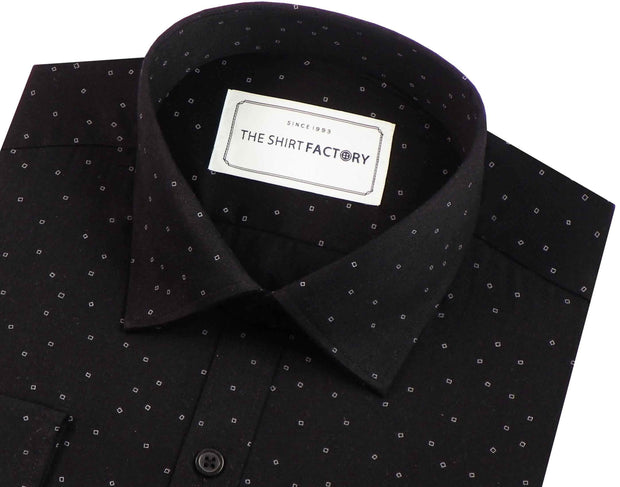 Men's 100% Cotton Printed Shirt - Black (0190) - Theshirtfactory