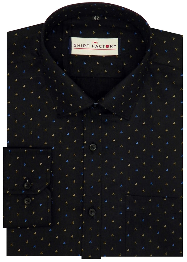 Men's 100% Cotton Printed Shirt - Black (0302) - Theshirtfactory