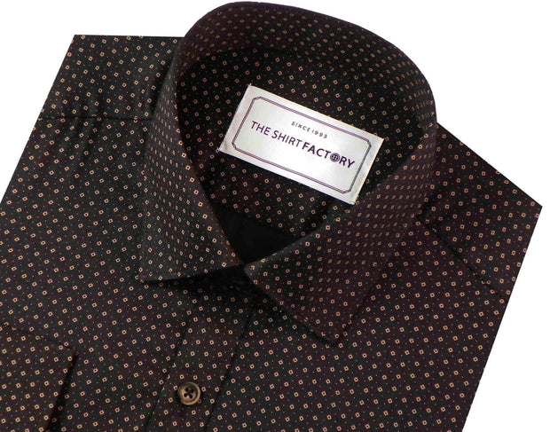 Men's 100% Cotton Printed Shirt - Black (0568) - Theshirtfactory