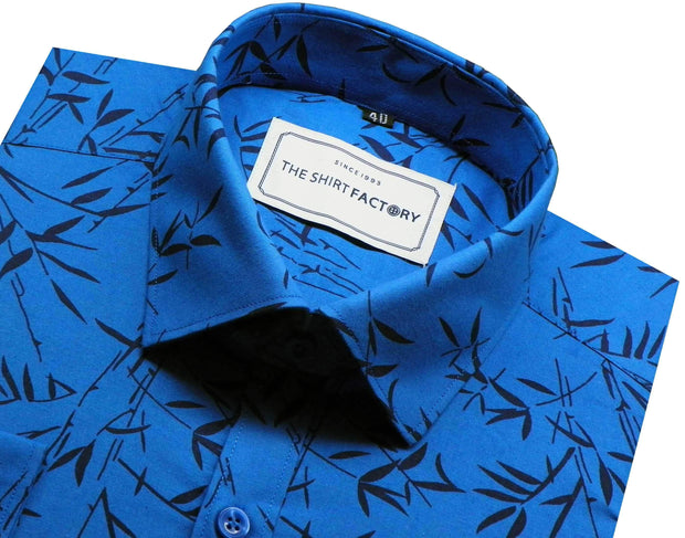 Men's 100% Cotton Printed Shirt - Blue (0203) - Theshirtfactory