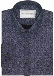 Men's 100% Cotton Printed Shirt - Navy (0555) - Theshirtfactory