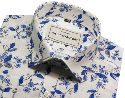 Men's 100% Cotton Slub Printed Shirt - White (0354) - Theshirtfactory