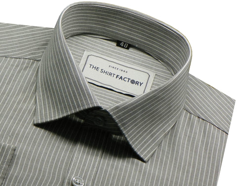 Men's 100% Cotton Stripes Shirt - Grey (0170) - Theshirtfactory