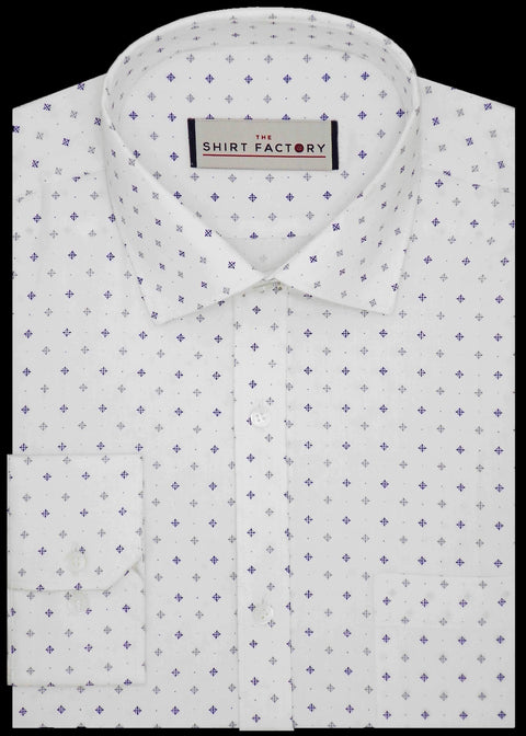 Men's-100%-Giza-Cotton-Printed-Dobby-Shirt-White-0218 - Theshirtfactory